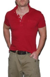 Polo Ralph Lauren RRL Mens Henley Cotton Shirt Red Large