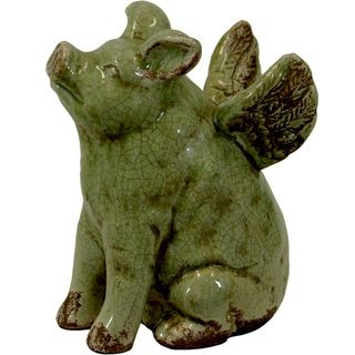 Urban Trends Collection Ceramic Flying Pig Green