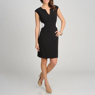Sharagano Womens Colorblock Sheath Dress