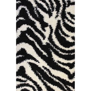 Shag Plush Zebra Black Area Rug (5 x 72)