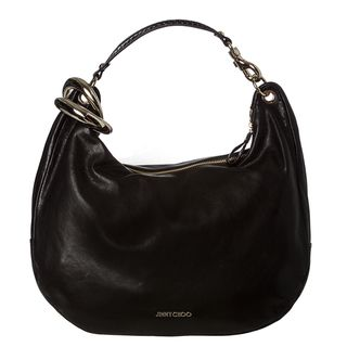 Jimmy Choo Solar Black Leather Hobo Handbag