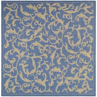 Indoor/ Outdoor Mayaguana Blue/ Natural Rug (6 7 Square)