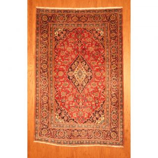 Persian Hand knotted Kashan Red/ Blue Wool Rug (63 x 95)