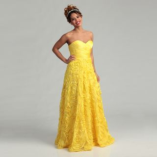 Adrianna Papell Womens Yellow Rosette Gown