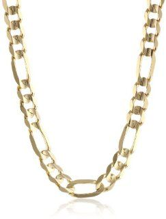 Mens 14k Yellow Gold 9mm Figaro Chain Necklace, 26