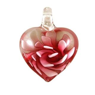 Murano inspired Glass Pink Flower Heart Pendant Today $8.39 5.0 (1