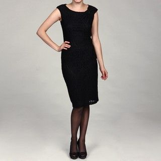 Evan Picone Womens Black Lace Cap sleeve Dress