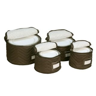 Brown Quilted China Plate 4 piece Storage Case Set