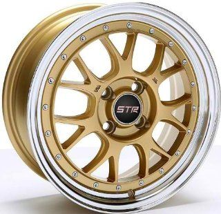 15x8 STR Racing 502 (Gold w/ Machined Lip) 4x100 73.1 Bore +10 Set of