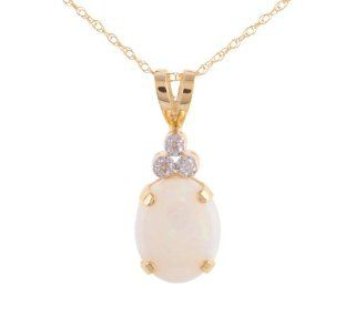 10k Yellow Gold Opal Diamond Accent Pendant Necklace, 18
