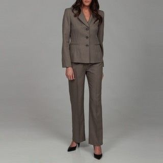 Evan Picone Womens Mushroom Three button Pant Suit