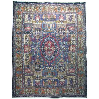 Persian Hand knotted Light Blue Wool Kashmar Rug (94 x 123