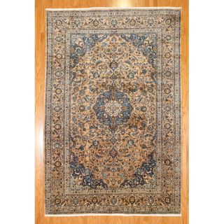 Persian Hand knotted Light Brown/Blue Mashad Wool Rug (82 x 123