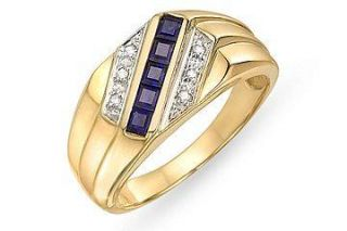 10k Yellow Gold Diamond and Sapphire Mens Ring