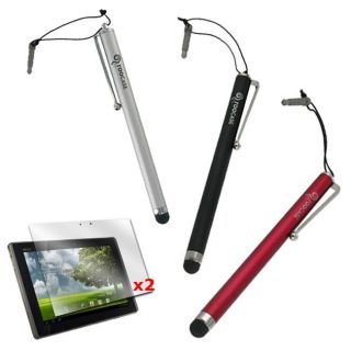 rooCASE Capacitive Stylus and 2 x Anti glare Screen Protector for Asus