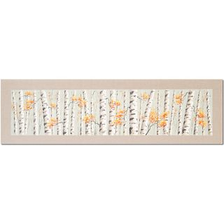 Birch Trees on Linen yellow Hand painted Canvas Art