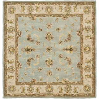 Handmade Heritage Kashmar Light Blue/ Beige Wool Rug (6 Square