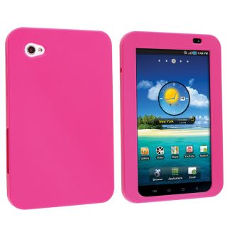BasAcc Hot Pink Silicone Skin Case for Samsung Galaxy Tab P1000 7 inch