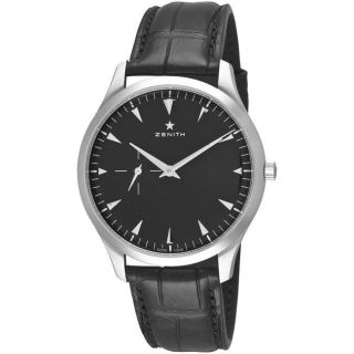Zenith Mens Elite Ultra Thin Black Dial Leather Strap Watch