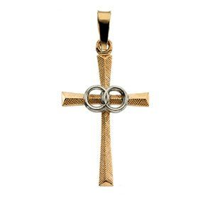 14K Two Tone Gold Cross Pendant With Wedding Bands