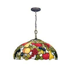 Dale Tiffany 7362/1LTA Fruit Jewels Pendant Light, Antique Brass and
