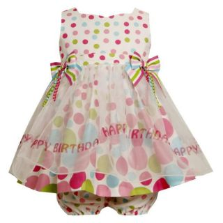 Bonnie Jean Baby Girls Polka Dot Happy Birthday Dress