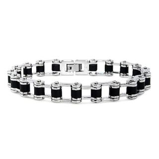 Stainless Steel and Black Rubber Link Mens Bike Chain Bracelet