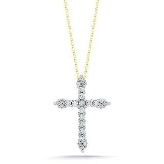 10k Yellow Gold Diamond Cross Pendant Necklace (1/4 cttw