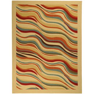 Non Skid Ottohome Ivory Contemporary Waves Area Rug (5 x 66