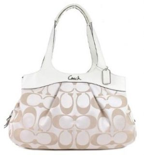 Lexi Signature Sateen Satchel Shoulder Bag 18828 Khaki White Shoes