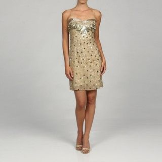 Adrianna Papell Womens Gold Fully Beaded Evening Dress