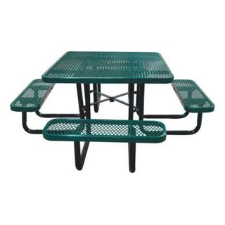 Approved Vendor 4HUR2 Picnic Table, Expanded Metal, Square, Green