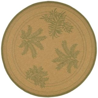 Indoor/ Outdoor Natural/ Green Rug (67 Round)