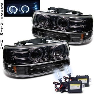 Eautolight 99 02 Chevy Silverado Black Halo LED Projector Head Lights