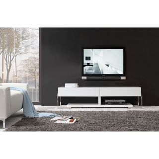 Giovanni White / White Glass Two drawer Modern TV Stand