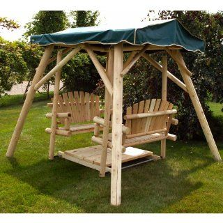 Moon Valley Double Glider Canopy   Forest Green Patio
