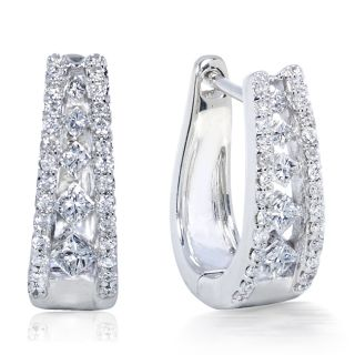 14k White Gold 1/2ct TDW Diamond Cuff Earrings (H I, VS1 VS2