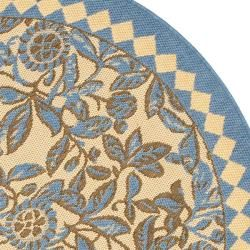 Indoor/ Outdoor Natural/ Blue Rug (67 Round)