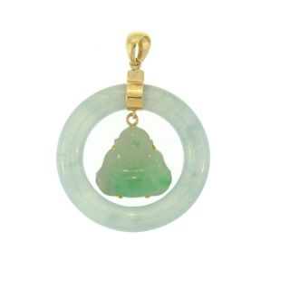 Mason Kay 14k Yellow Gold Green Jadeite Circle and Buddha Pendant