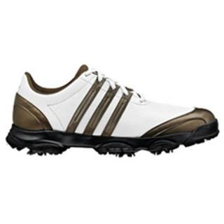 Adidas Mens White/Metallic Golflite Tour Golf Shoes